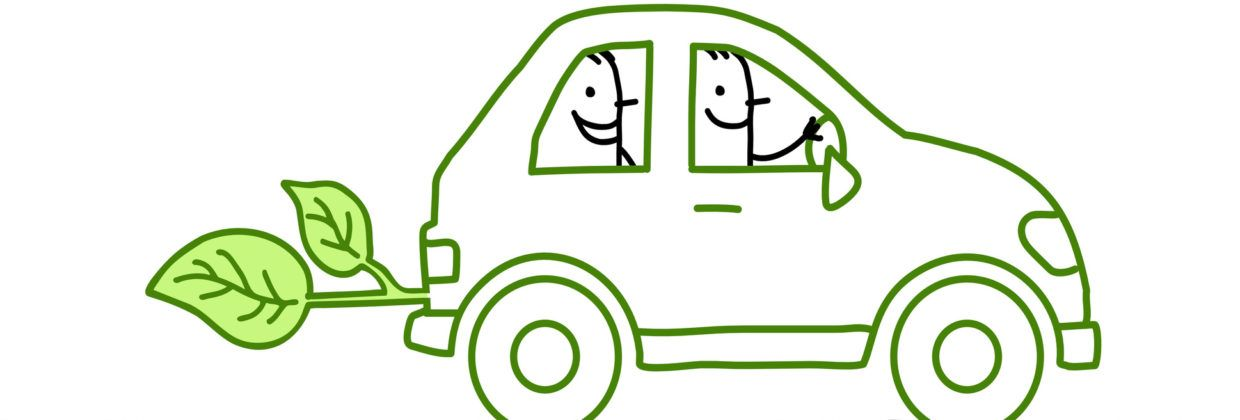 2 men in green car